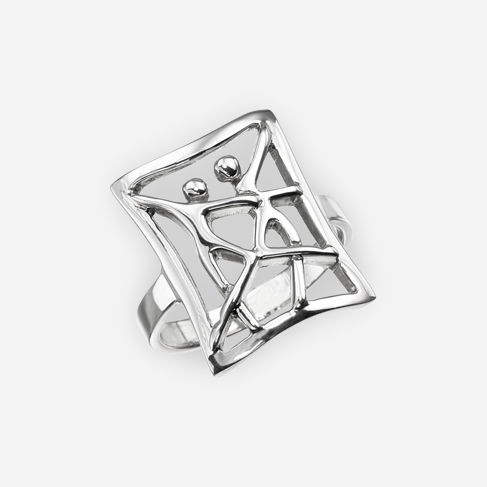 Silver ring with dancing couple motif and is crafted in 925 sterling silver.