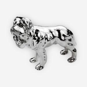 Escultura de perro San Bernardo hecha a mano con nuestra técnica especial de electroformado con acabado plateado oxidado