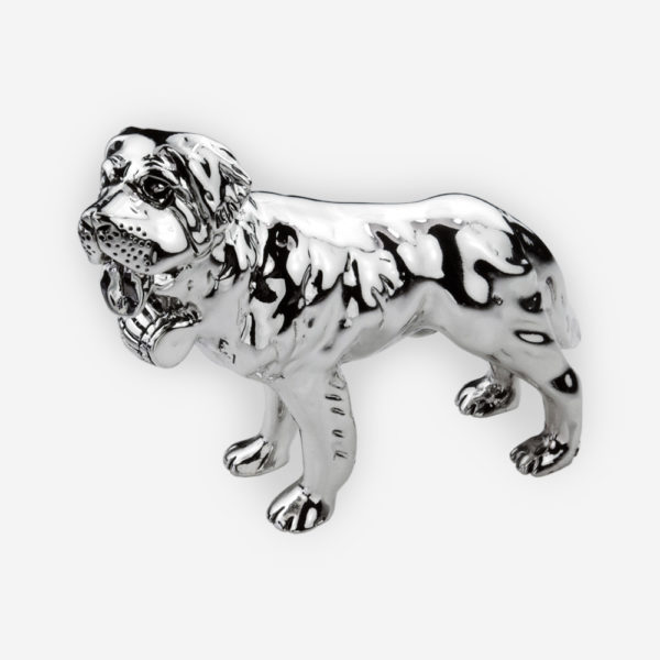 Silver Saint Bernard dog sculpture is crafted with electroforming techniques and dipped in sterling silver.