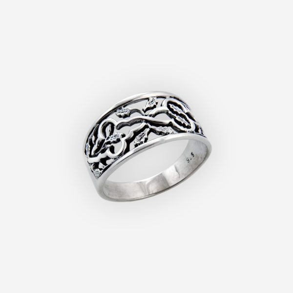 Silver scrolling leaf ring features an oxidized finish and crafted from 925 sterling silver.