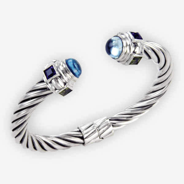 The Silver and Semi Precious Twisted Wire Bracelet, in sterling silver with semi precious and zirconia stones.