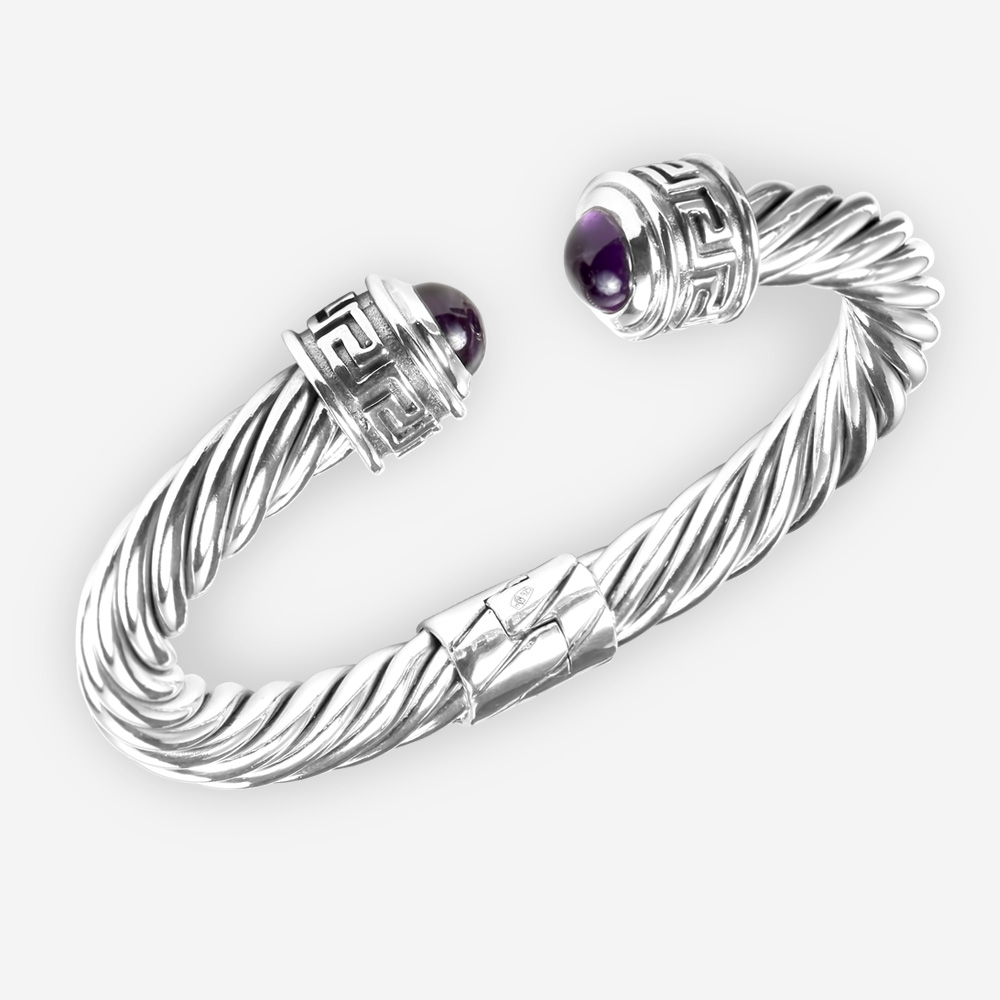 Sterling silver twisted cable bracelet with byzantine design and amethyst cabochons.