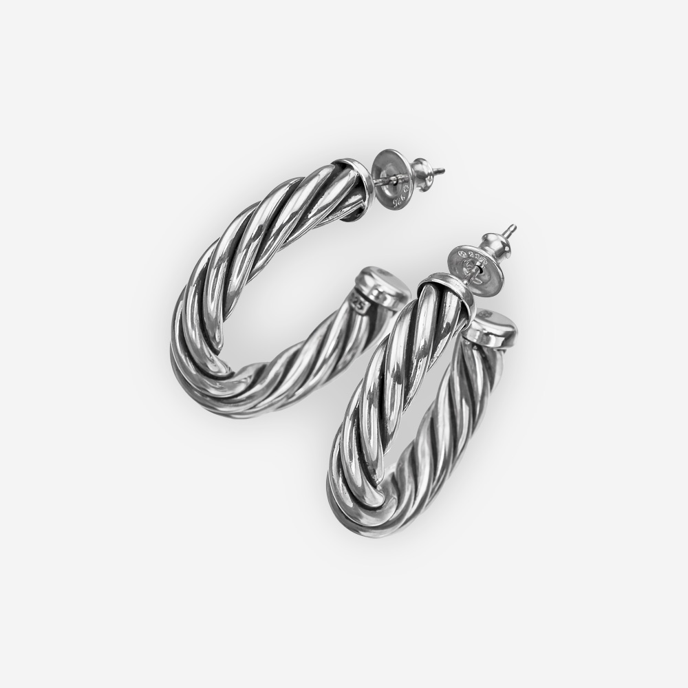 Classic sterling silver twisted cable hoops with sterling silver posts and backings.