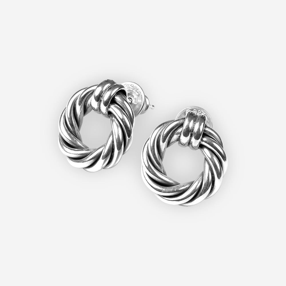 Small silver twisted cable studs crafted in 925 sterling silver.