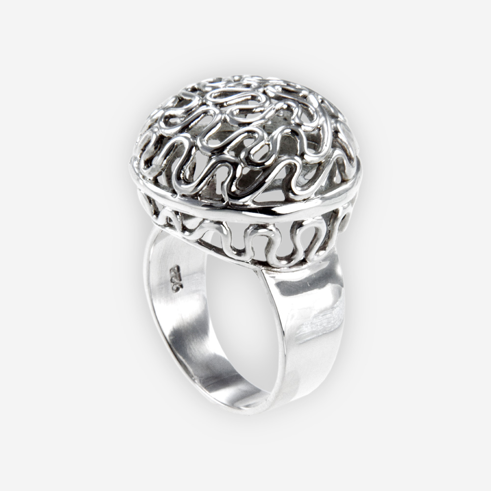 The Silver Weave Cabochon Ring, in sterling silver with a cabochon shape top.