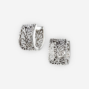 Aretes de aro huggie de alambres ondulados de plata .925