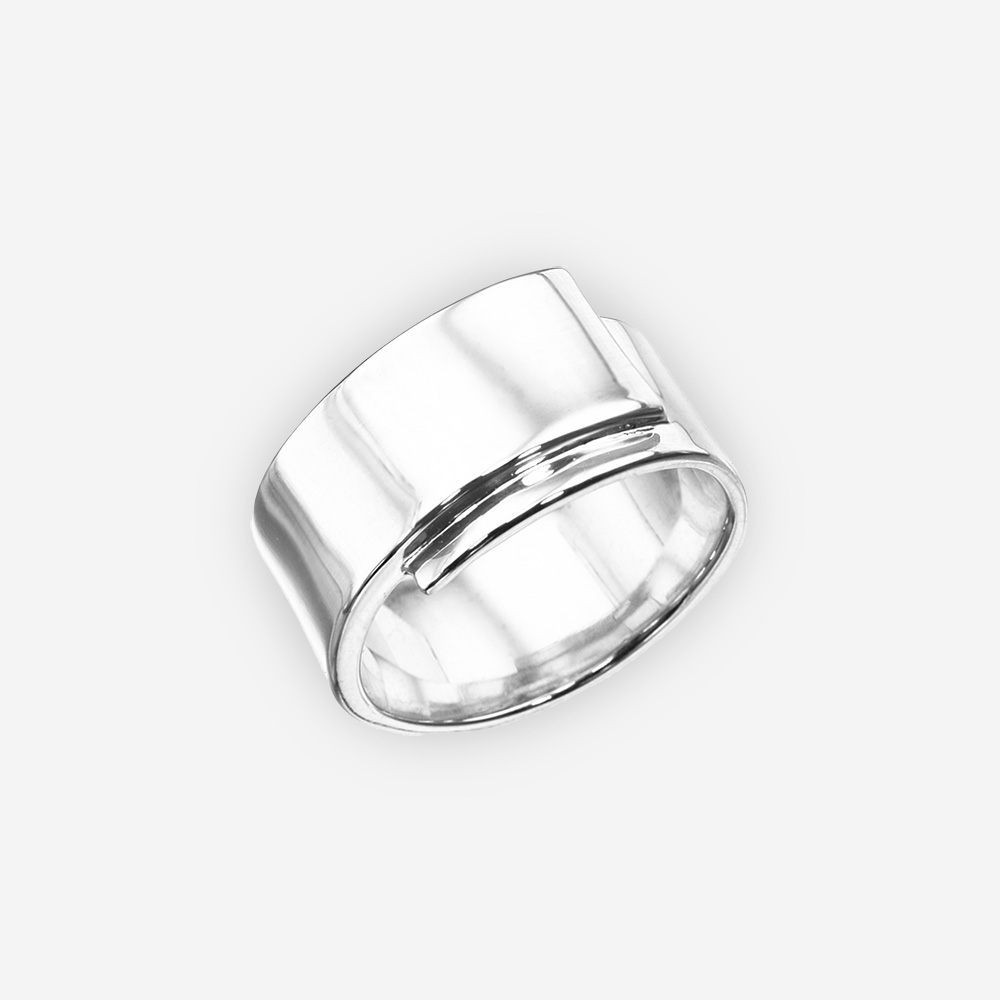 Sleek minimalist sterling silver ring with a high polished finish.