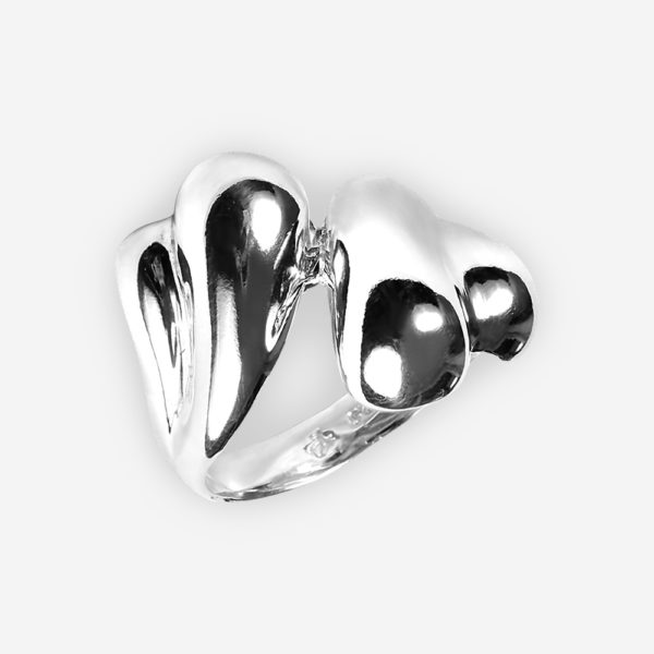 Sleek sterling silver statement ring with a polished domed design.