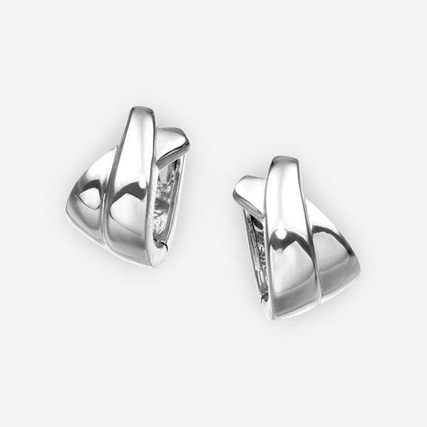 Small crisscross silver hoop earrings crafted in 925 sterling silver.