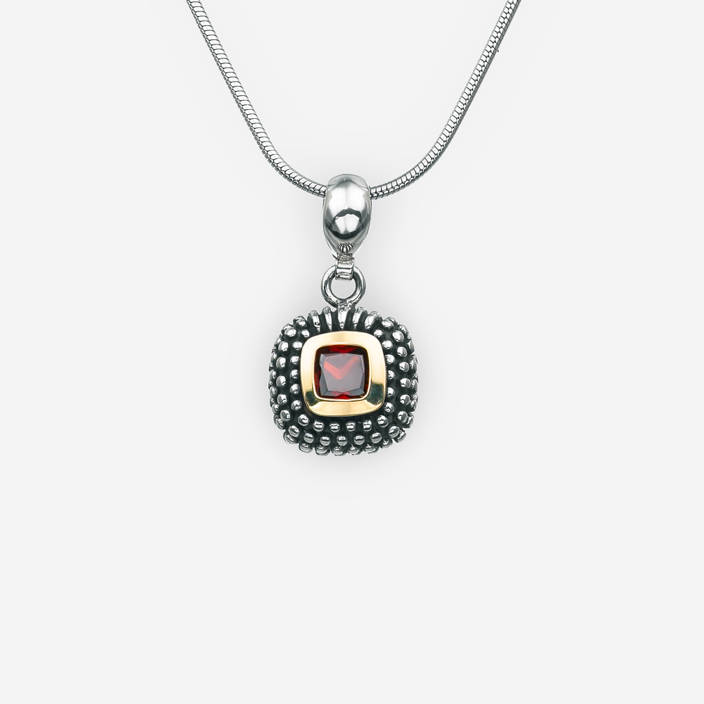 Small silver square cubic zirconia pendant with tiny embossed silver dot details.