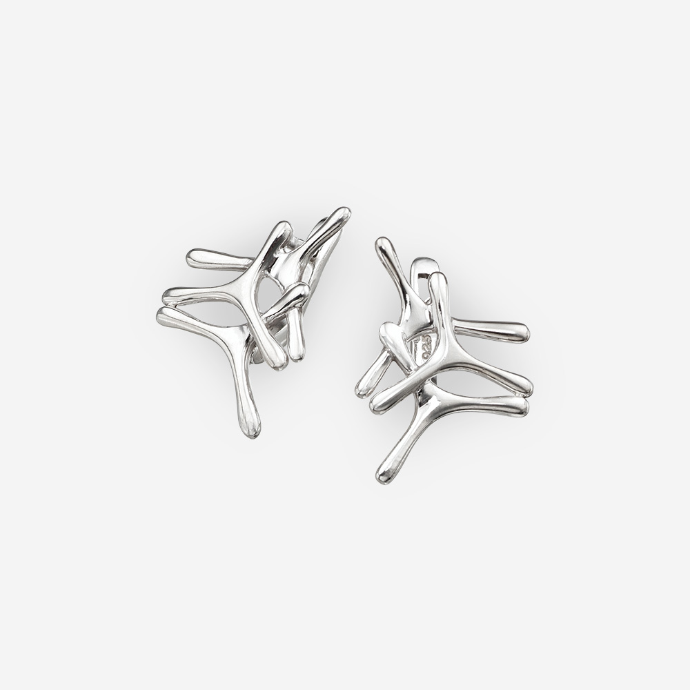 Small minimalist sterling silver earrings with latch back closures.