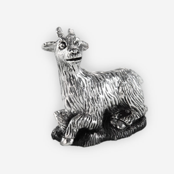 Small Nanny Goat Silver Sculpture is crafted with electroforming techniques and dipped in silver .999