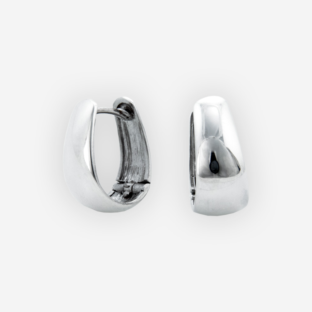 Small oval huggie hoop earrings crafted in polished 925 sterling silver.