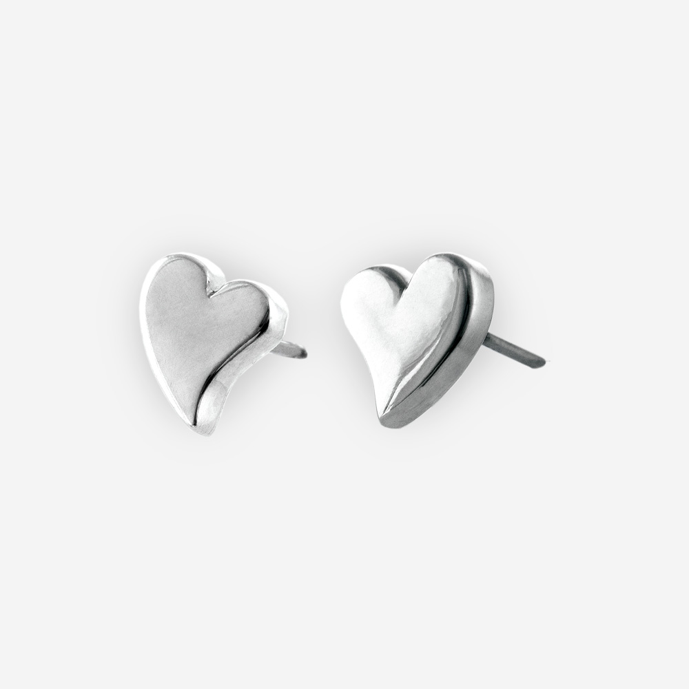 Sterling silver heart post earrings are crafted from 925 sterling silver.