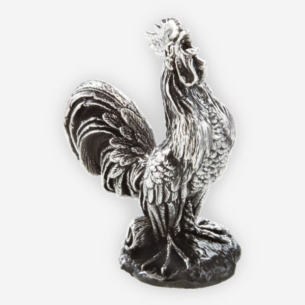 Rooster farm Silver sculpture is crafted with electroforming techniques and dipped in silver .999