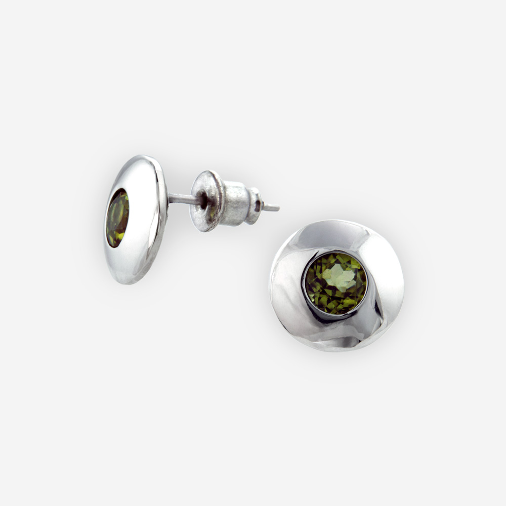 Small sterling silverfaceted gemstone post earrings are crafted from polished 925 sterling silver, set with faceted gems, and have 925 silver posts.