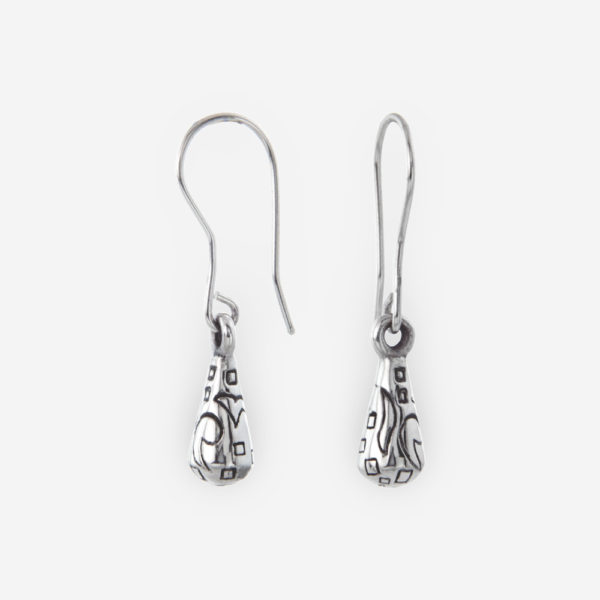Sterling Silver Dangling Earrings with small Teardrop engraved.