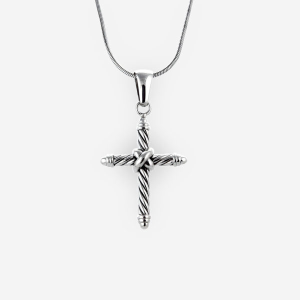 Small twisted cable religious cross pendant is crafted from 925 sterling silver.