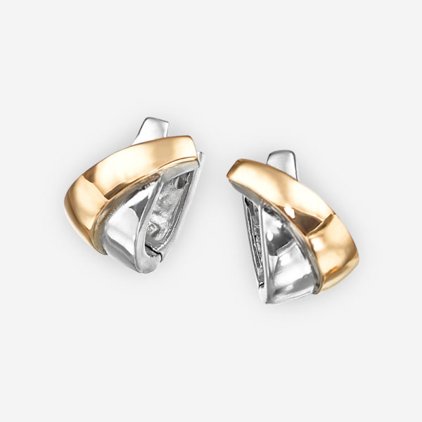 Small two tone crisscross silver hoops crafted in 925 sterling silver and 14k gold.