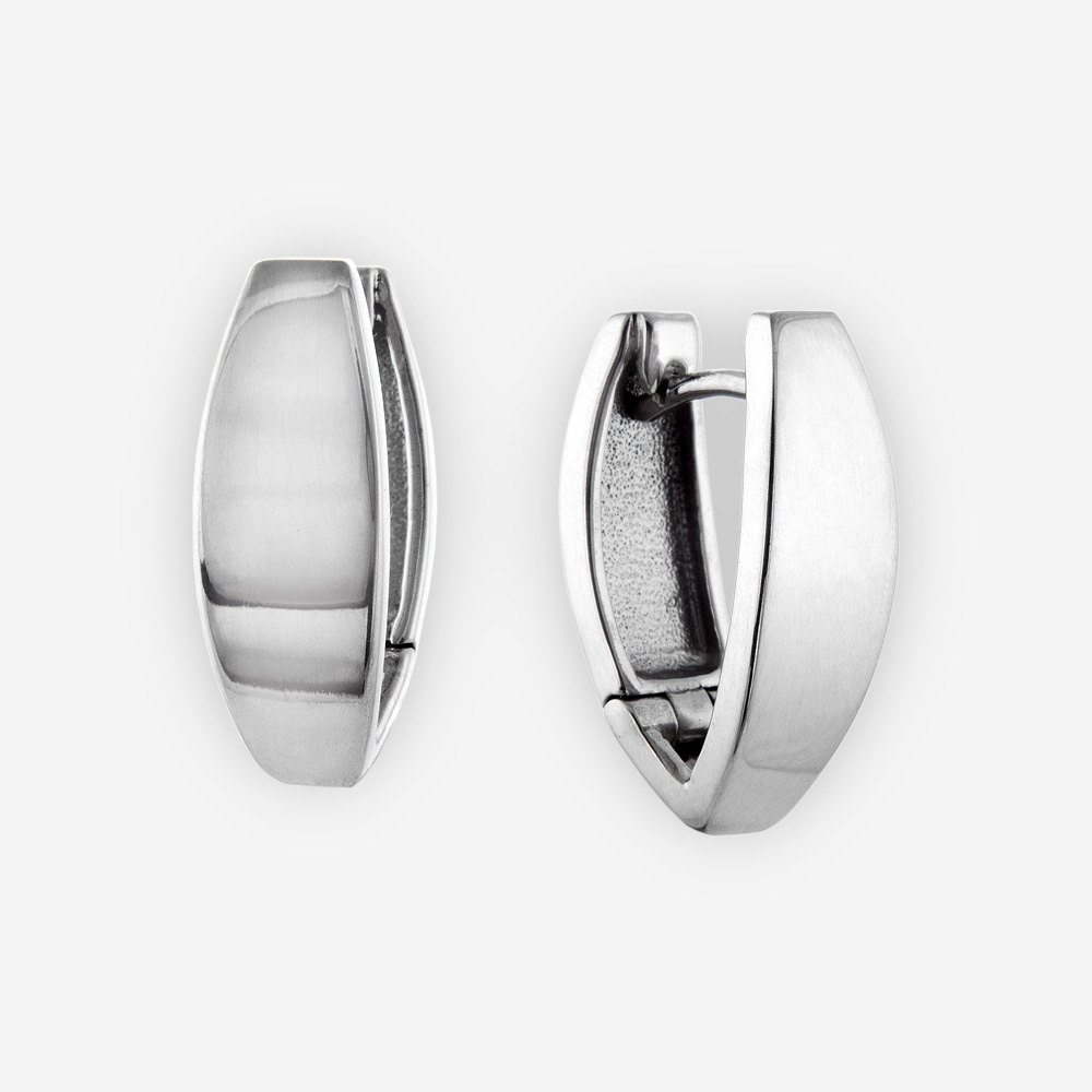 Small wide silver pointed huggie hoop earrings crafted from polished 925 sterling silver.