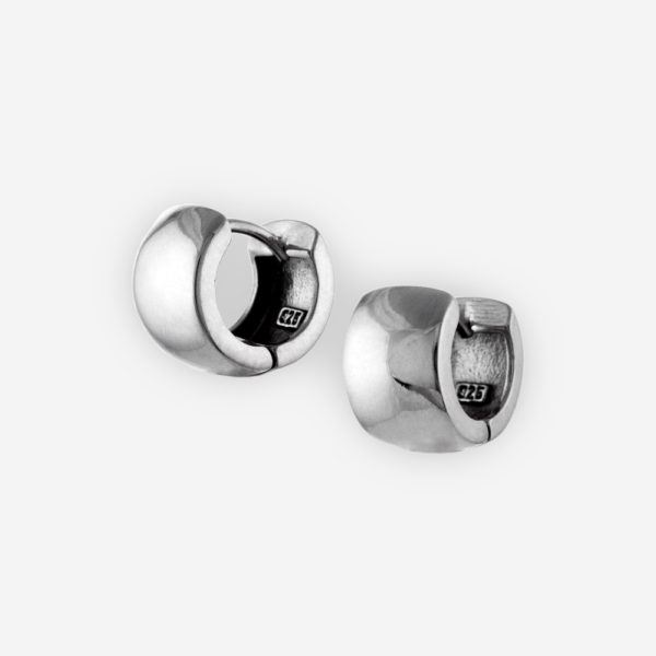 Small wide sterling silver huggie hoop earrings crafted in 925 sterling silver with polished finish.