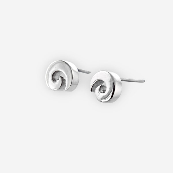 Small wide sterling silver spiral posts are crafted from polished 925 sterling silver with post backings.