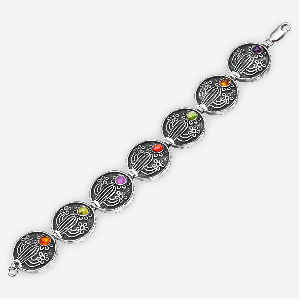 Brazalete del suroeste de plata con adornos de cactus, flores en conjunto de citrina, granate, amatista y peridoto.