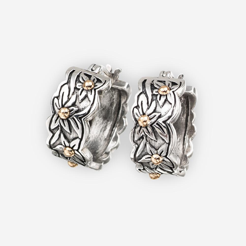 Aretes al suroeste hechos a mano de plata fina 925 y acentos de oro de14k.