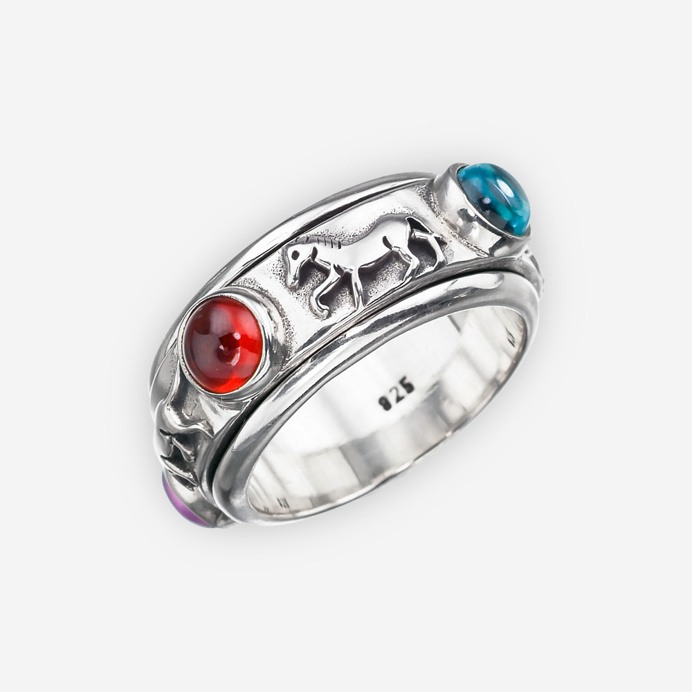 Southwestern silver horse ring with amethyst,garnet, topaz, and peridot gemstones.