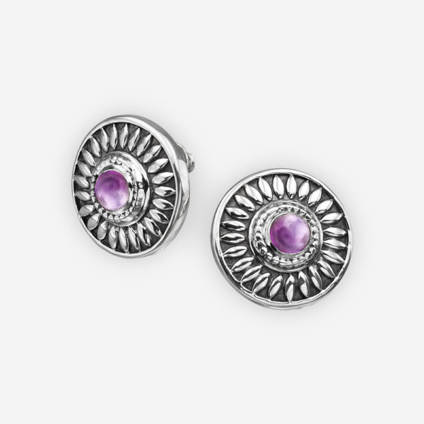 Southwestern silver round earrings with amethyst gems and oxidized finish - 925 sterling silver