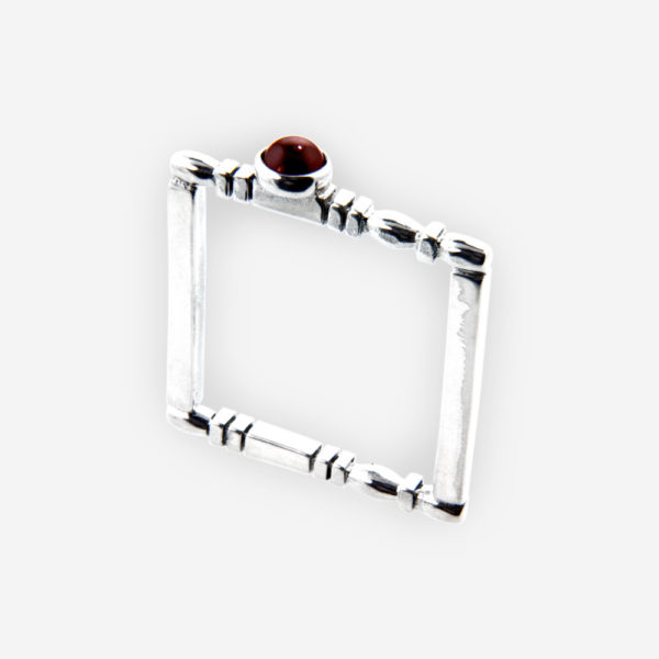 Square carved silver stacking ring is crafted from 925 sterling silver and set with a small gemstone cabochon.