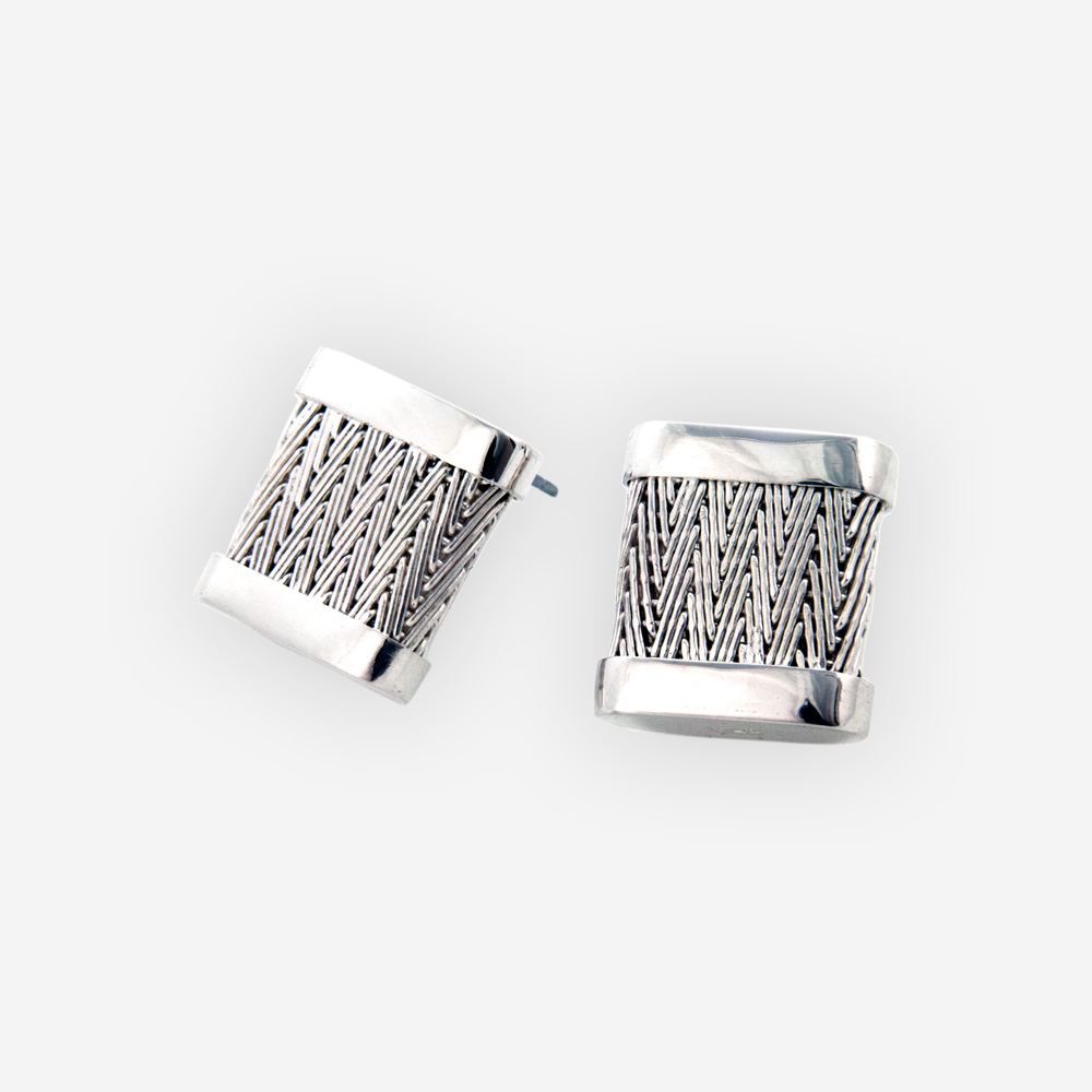 Square herringbone post earrings feature handwoven herringbone design, post closures, and are crafted from 925 sterling silver