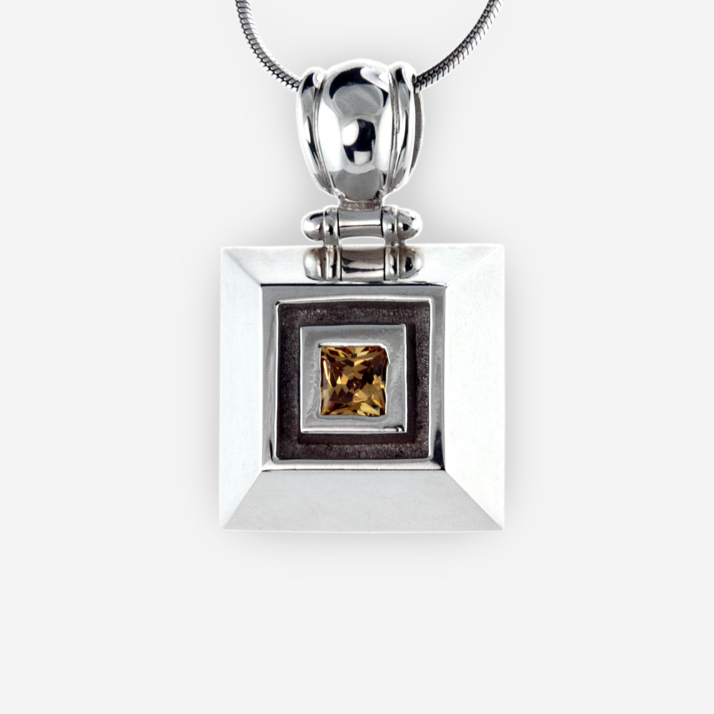 Square sterling silver faceted gemstone pendant is crafted from 925 sterling silver and set with a faceted square gemstone.