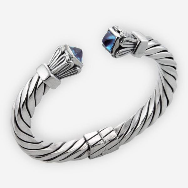 Squared Sterling Silver Cable Cuff Bracelet Casting with Bezel Set Faceted Cubic Zirconia Caps and Hinge Closure.