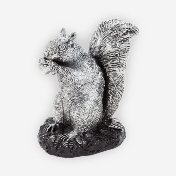 Squirrel Sculpture made by electroforming process dipped in silver .999