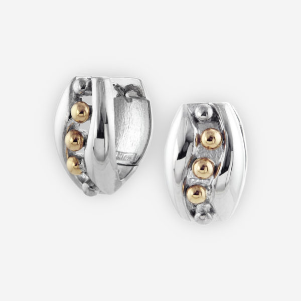 Huggie Hoop Earrings Casting in Sterling Silver with 14 k Gold Dots.