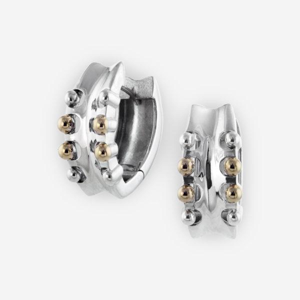 Sterling Silver Huggie Hoop Earrings with 14k gold Dots.