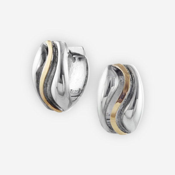 Huggie Hoop Earrings Casting in Sterling Silver with 14k Gold Ribbon.