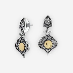Yemenite Teardrop Earrings Casting in Oxidized Sterling Silver, Carved with Floral Motifs with 14k Gold.
