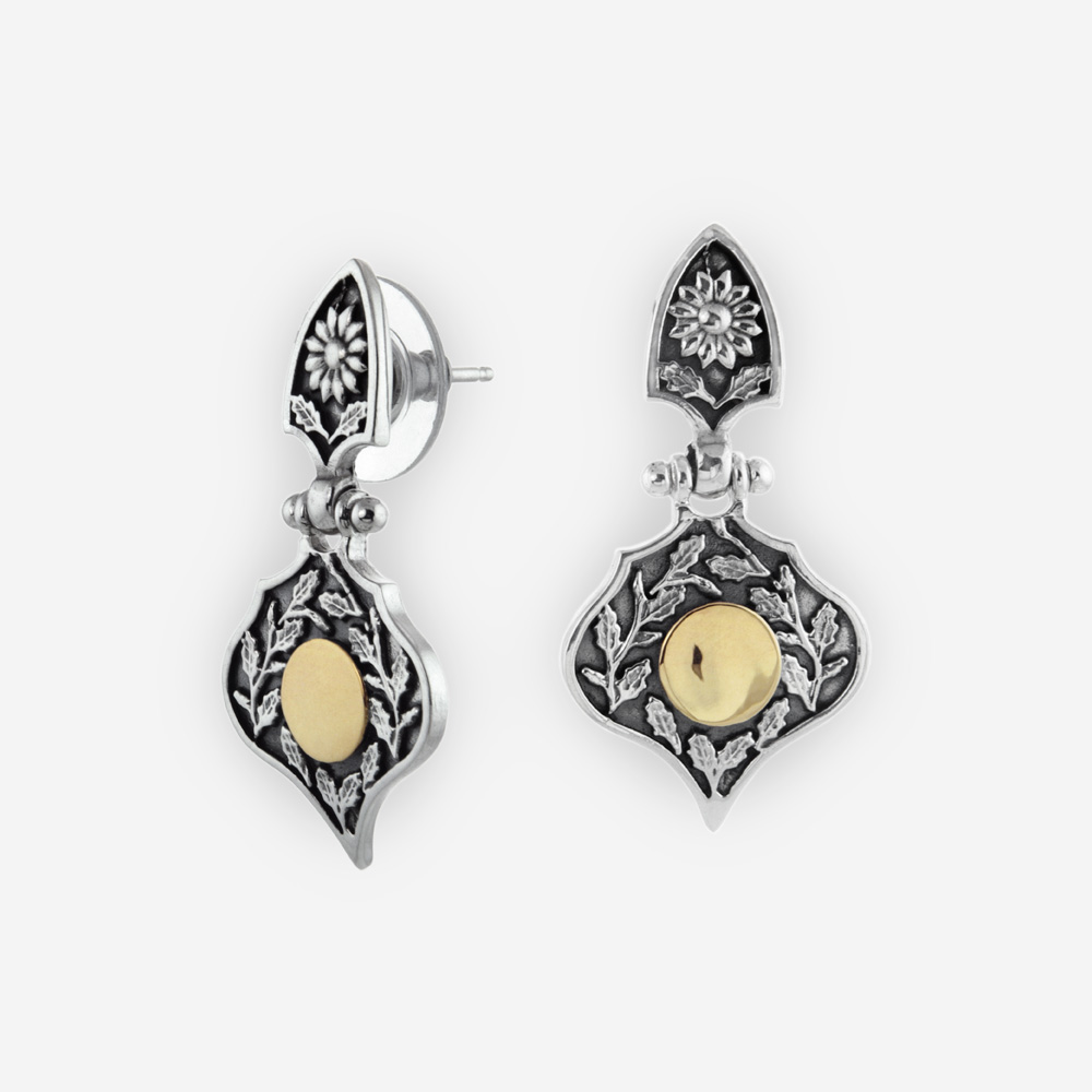 Sterling Silver With 14k Gold Yemenite Teardrop Earrings