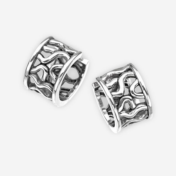 Sterling silver abstract hoop earrings with openwork detailing and huggie closures.