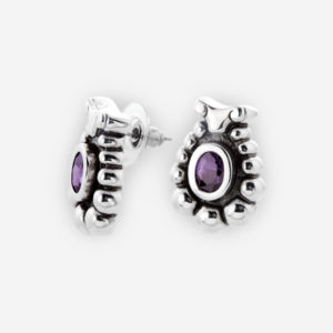 Fabulous Sterling Silver Stud Earrings with Abstract Sheep Design, set with Oval Cut Cubic Zirconia and Scalloped Edge Details.