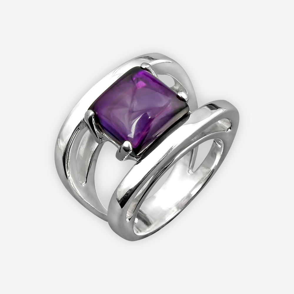 Sterling silver amethyst cabochon ring with a high polished finish.