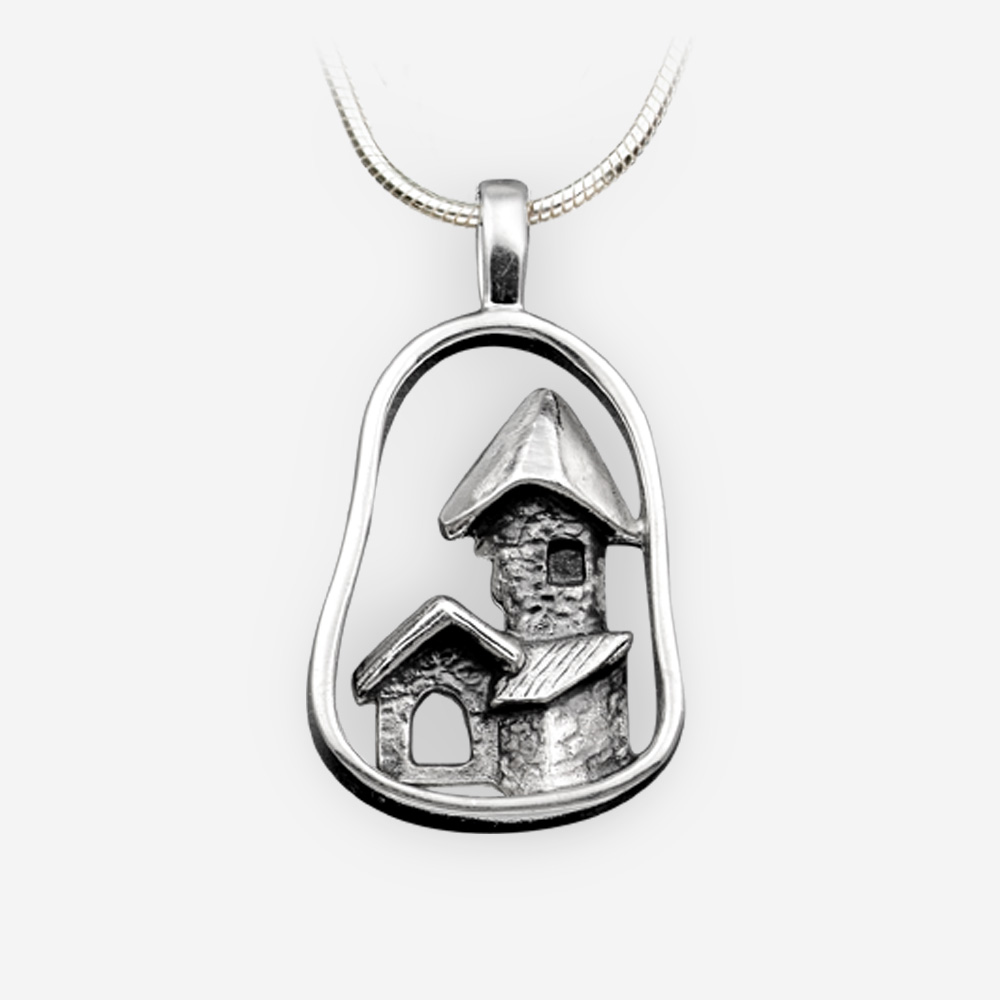 Sterling silver ancient house pendant with an oxidized finish.