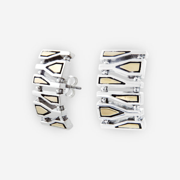 Sterling Silver with 14k gold Stud Earrings in rectangle shape