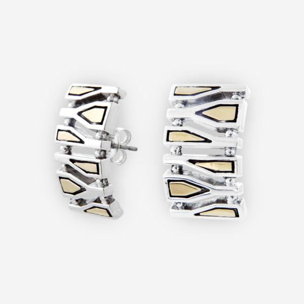 Aretes de Plata con oro 14 kt con diseños de botellas geométricas