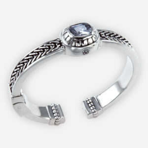 Sterling silver braided cuff is crafted from 925 sterling silver and set with a cubic zirconia stone.