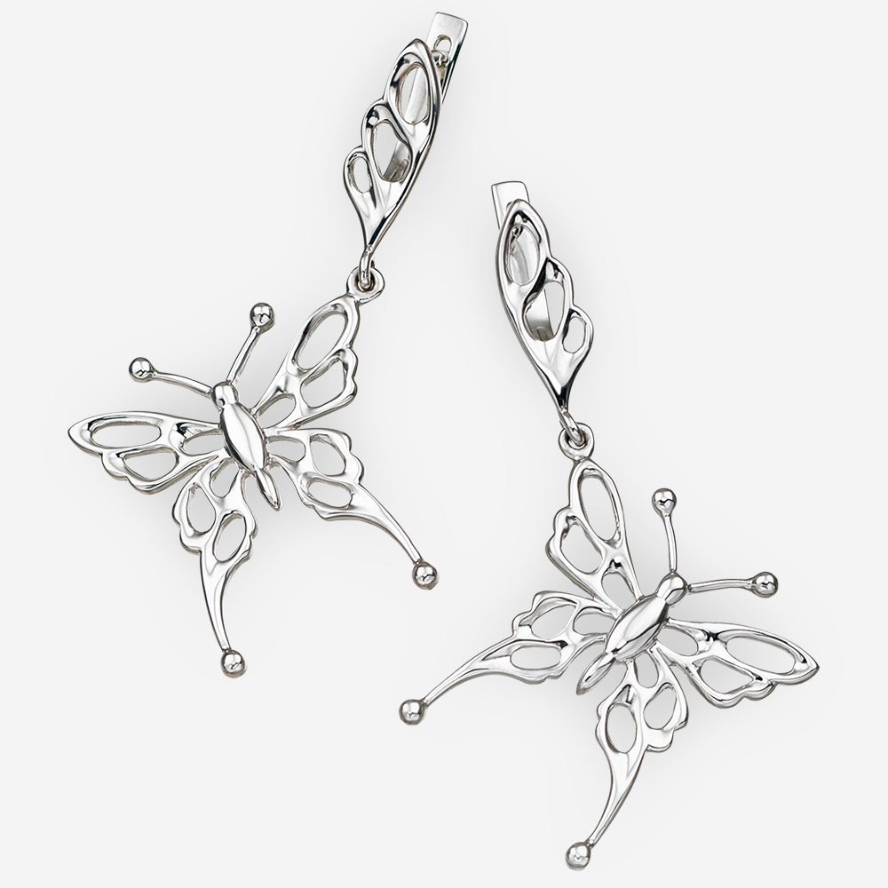 Sterling silver butterfly earrings with openwork details and latch back closures.