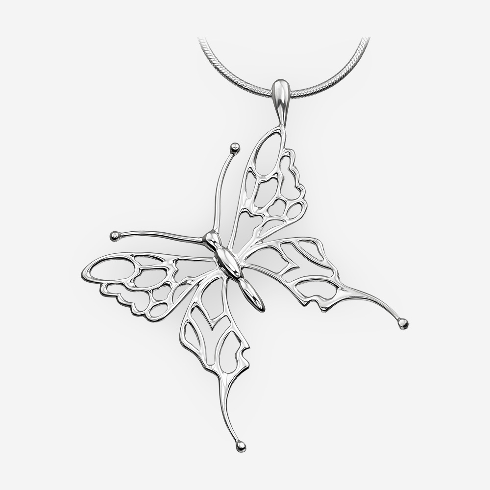 Sterling silver butterfly pendant with openwork details and a high polished finish.