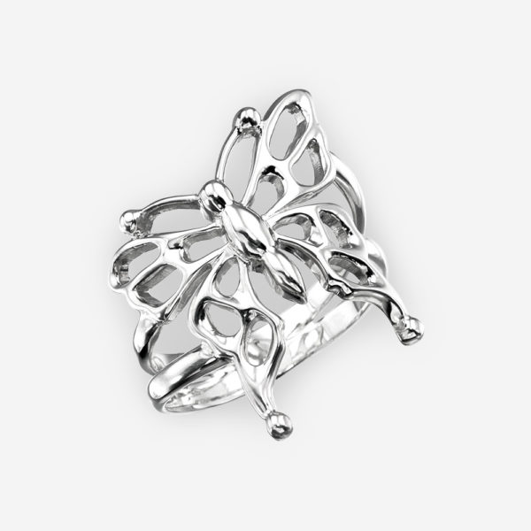 Sterling silver butterfly ring with openwork details with a high polished finish.